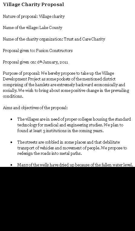 Village Charity Proposal | Sample Proposals