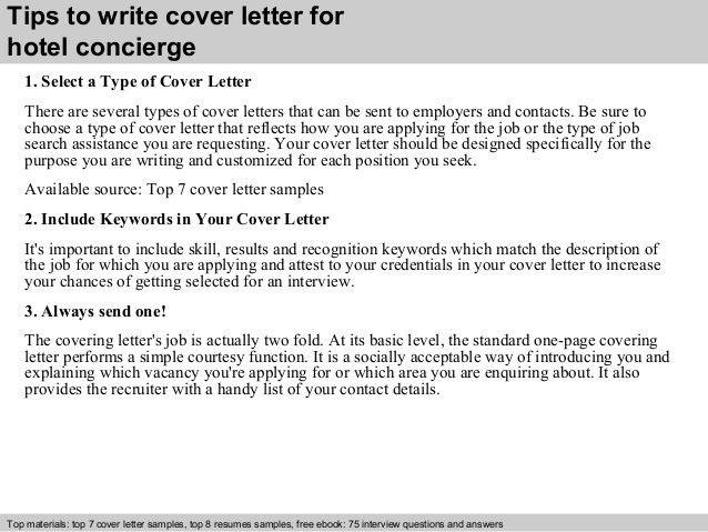 Hotel concierge cover letter