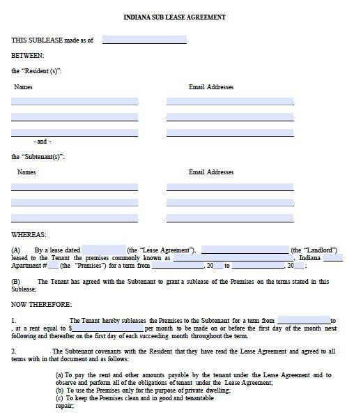 Free Indiana Sublease Agreement Form – PDF Template
