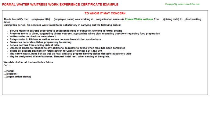 Formal Waiter Waitress Work Experience Certificate