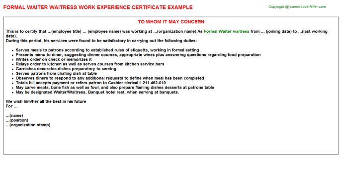 Formal Waiter Waitress Work Experience Certificate