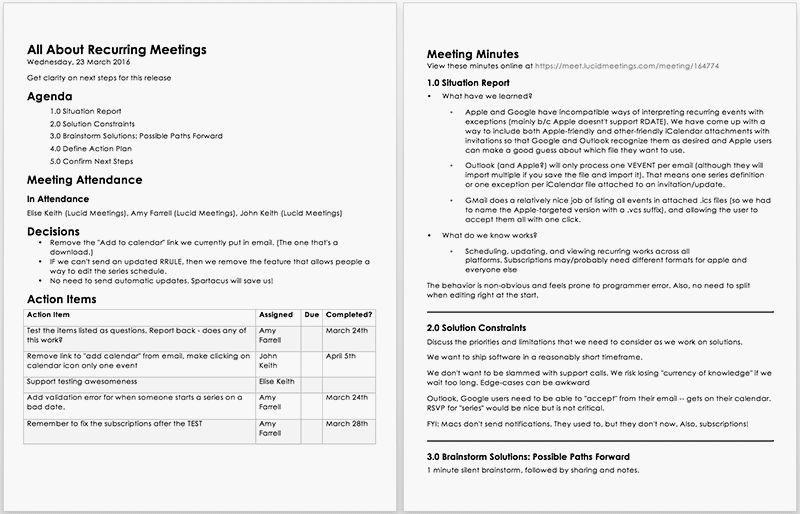 Meeting Minutes | Lucid Meetings