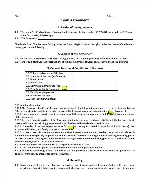Sample Business Loan Agreement - 6+ Free Documents Download in ...