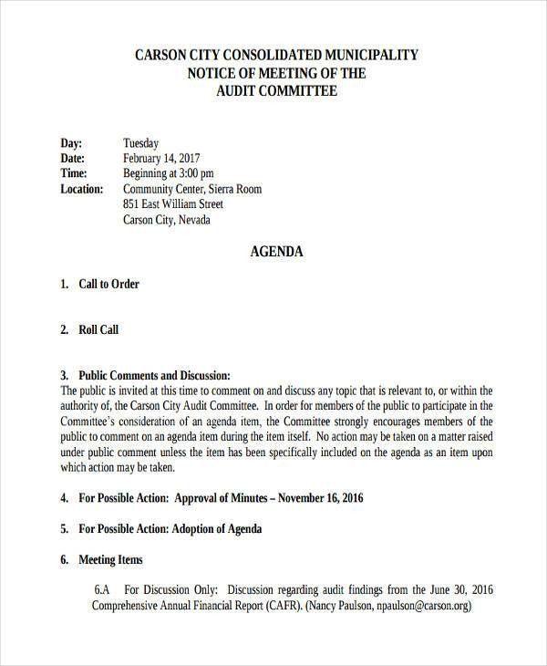 Audit Agenda Templates - 9+ Free Word, PDF Format Downlaod | Free ...