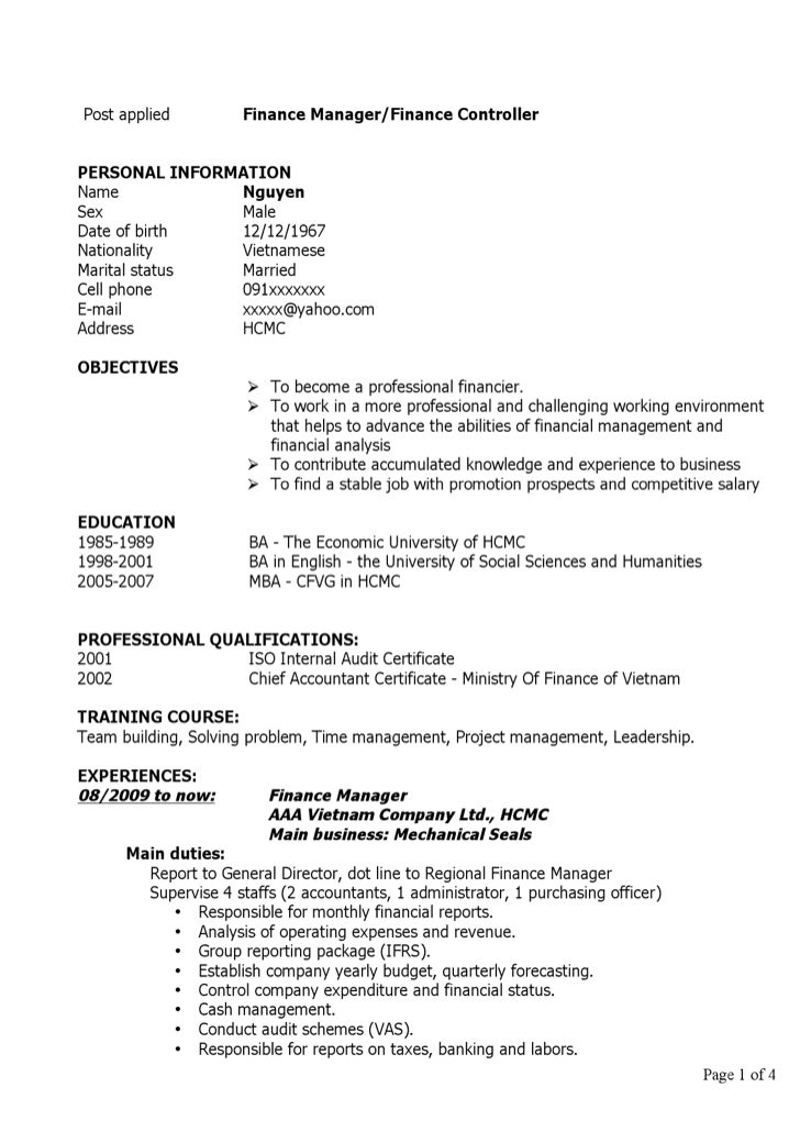 auto finance manager resume