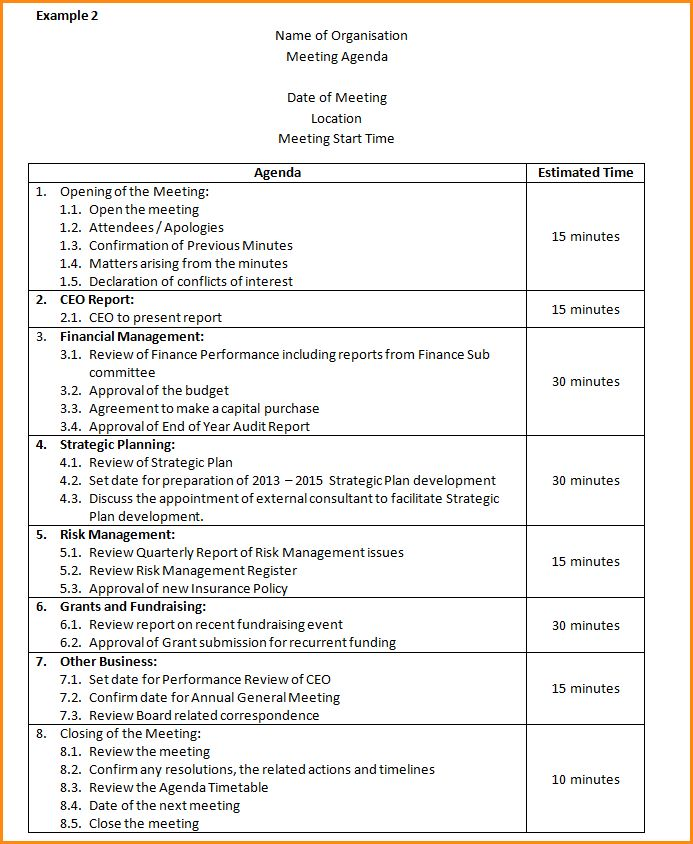 Examples Of Agendas.Basic Agenda Template.png - Loan Application Form