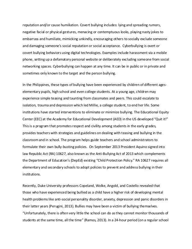 Bullying Essay Example | haadyaooverbayresort.com