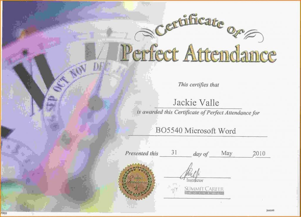 Free Perfect Attendance Certificate Template - Template Update234 ...