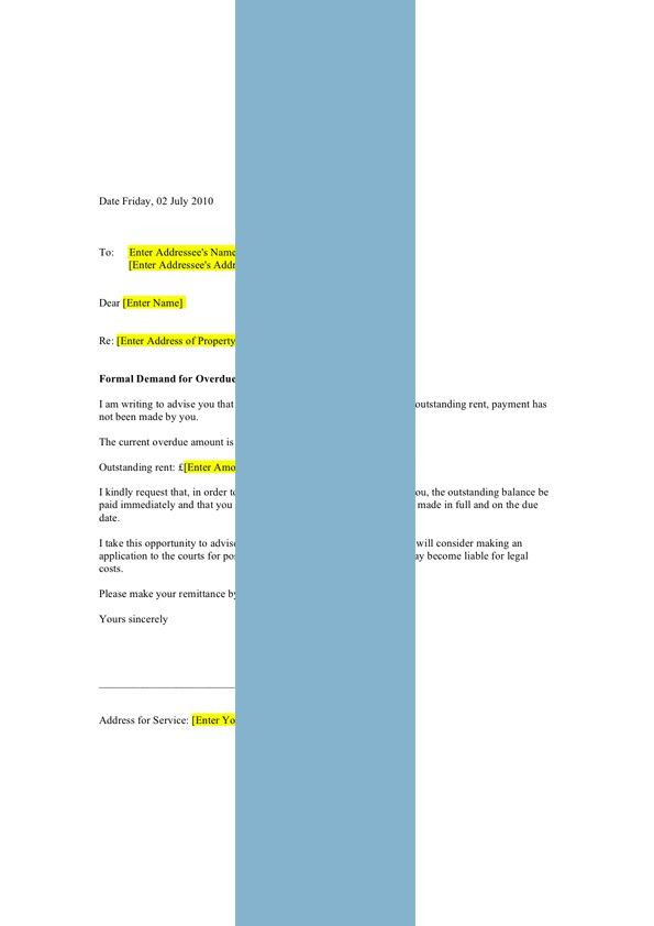 Landlord's Rent Arrears Letter (14-Day Demand) - Form Template ...