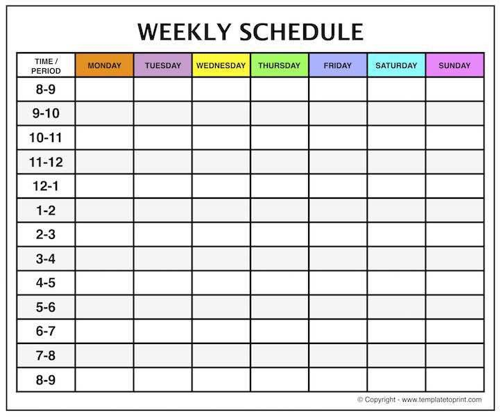 weekly calendar with time slots - Template
