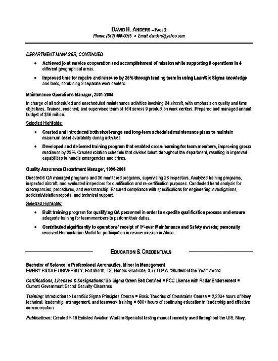 Logistics Resume Example - Operations, Production, Military