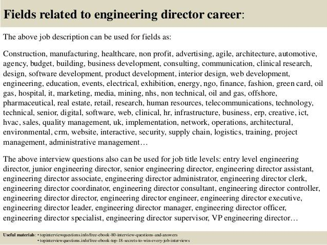 job description director of engineering director of engineering