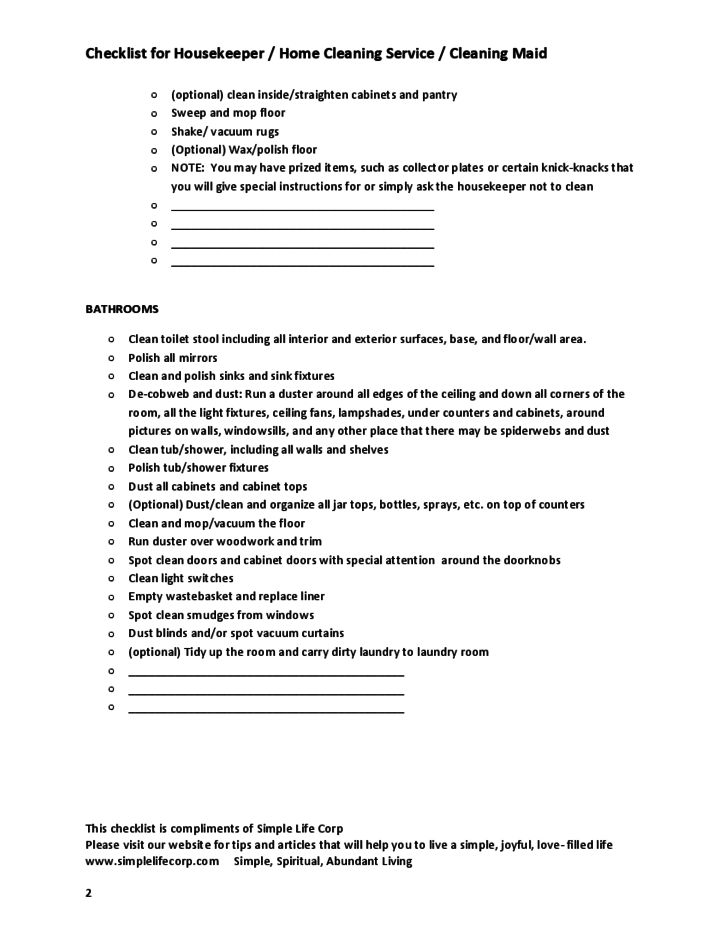 Checklist for Housekeeper / Home Cleaning Service / Cleaning Maid ...