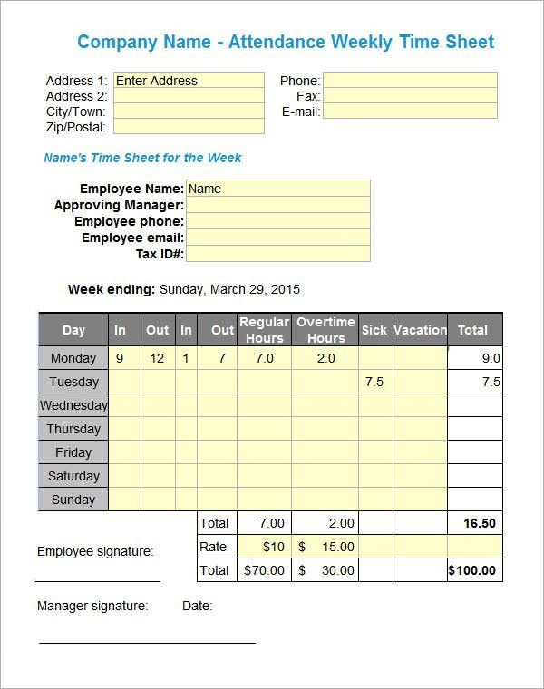 Attendance Sheet Templates - 10+ Download Free Documents in PDF ...