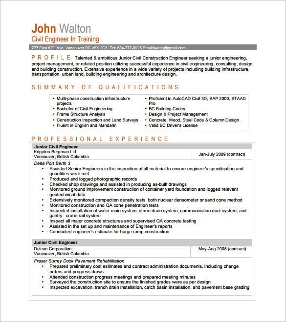 junior site engineer resume