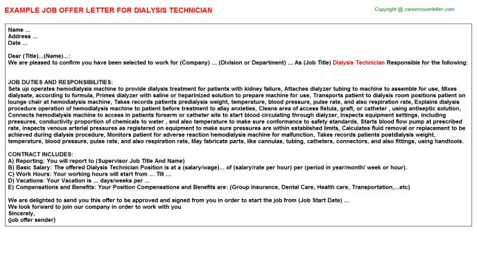 Dialysis Technician Offer Letter