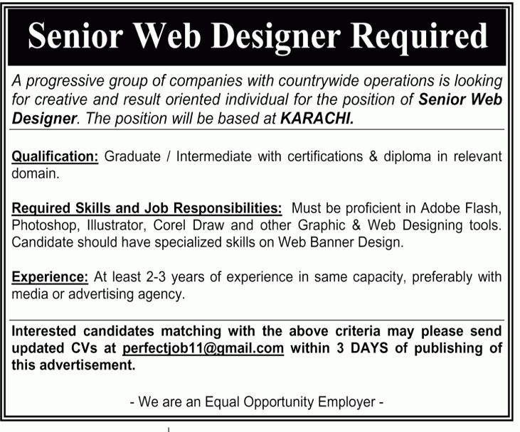 Senior Web Designer Jobs in Karachi, The News on 22-Apr-2012 ...