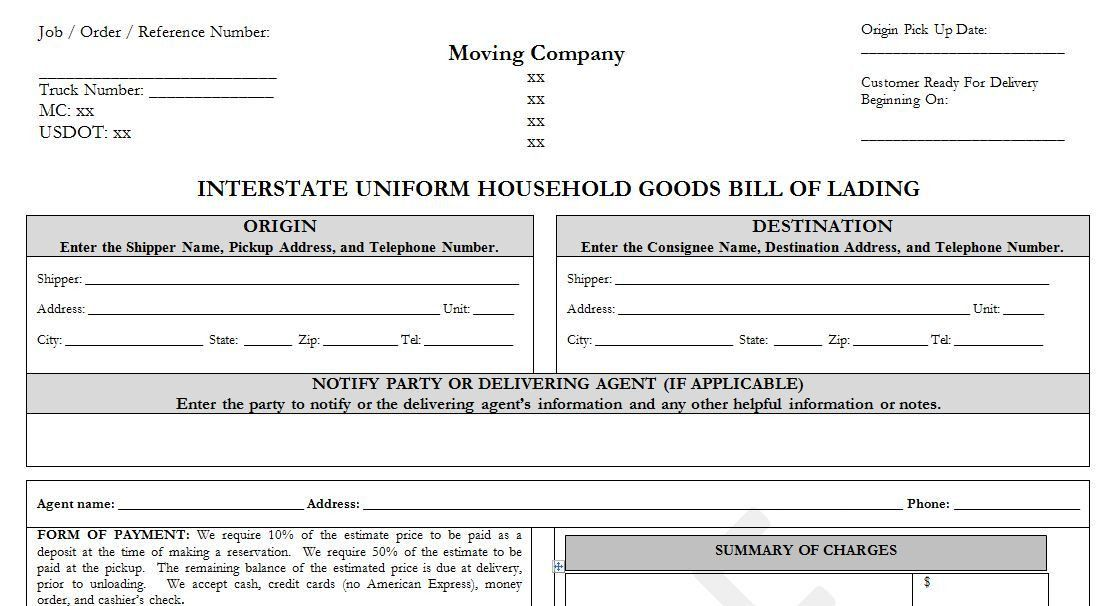 Sample Household Goods Bill of Lading Template -