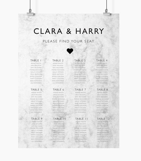 Wedding Seating Chart Printable Seating Chart Find Your
