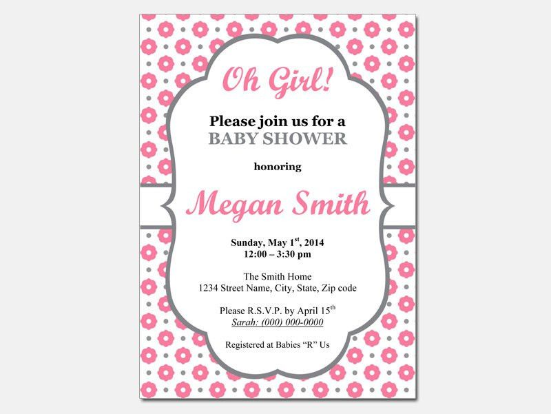 Template : Baby Shower for Girl Invitation Templates Online Free