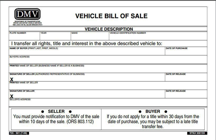 Free Oregon Vehicle Bill of Sale Form | PDF Template | Form Download