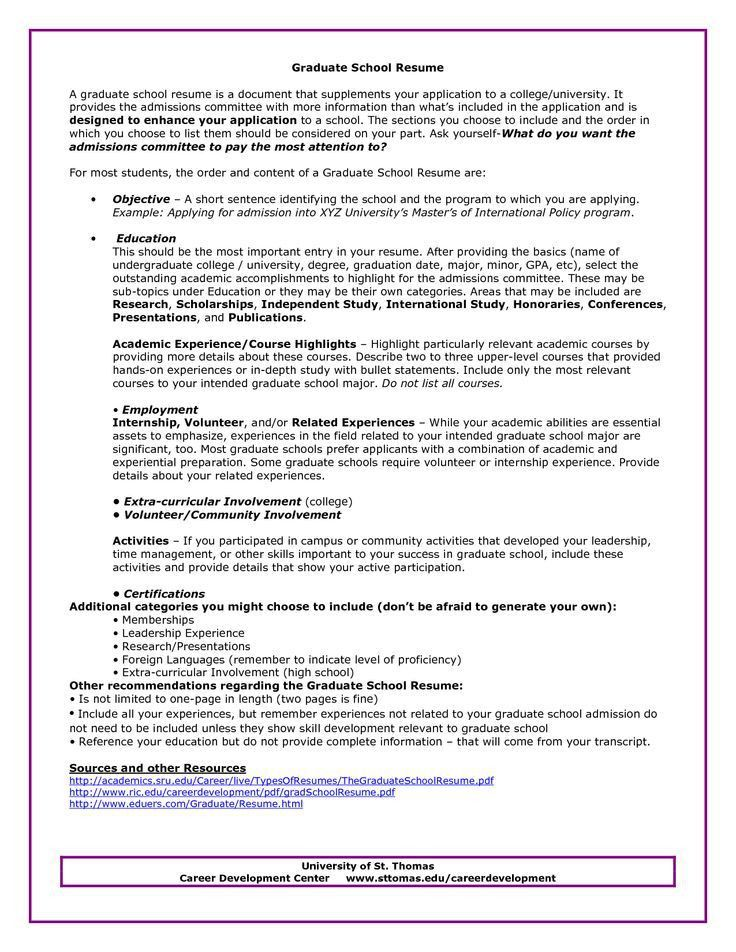 Sample Resume For Graduate School Sample Resume For Graduate ...