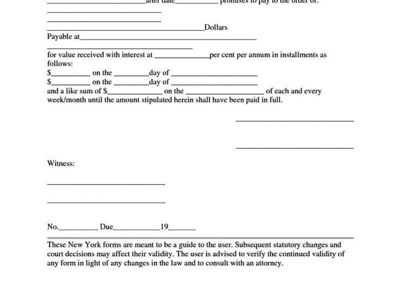 Template Of Promissory Note Forms | TemplateZet