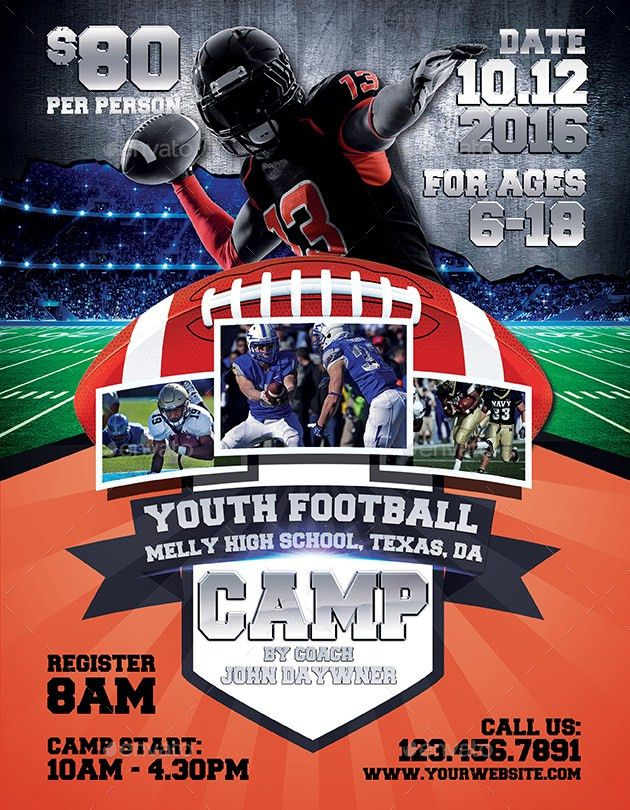Youth Football Camp Flyers by inddesigner | GraphicRiver