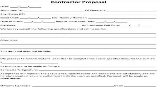 Contractor proposal bid form | contractor bid agreement