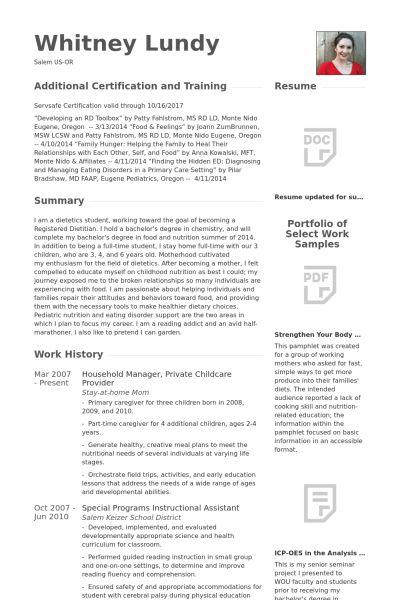 Childcare Resume samples - VisualCV resume samples database