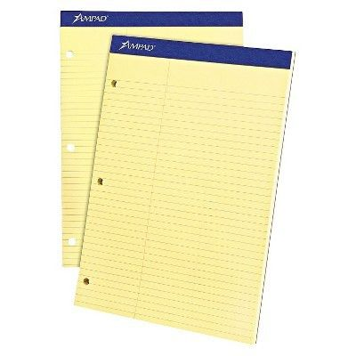 Ampad® Double Sheet Pad, Law Rule, 8-1/2 x 11-3/4, Canary, Perfed ...