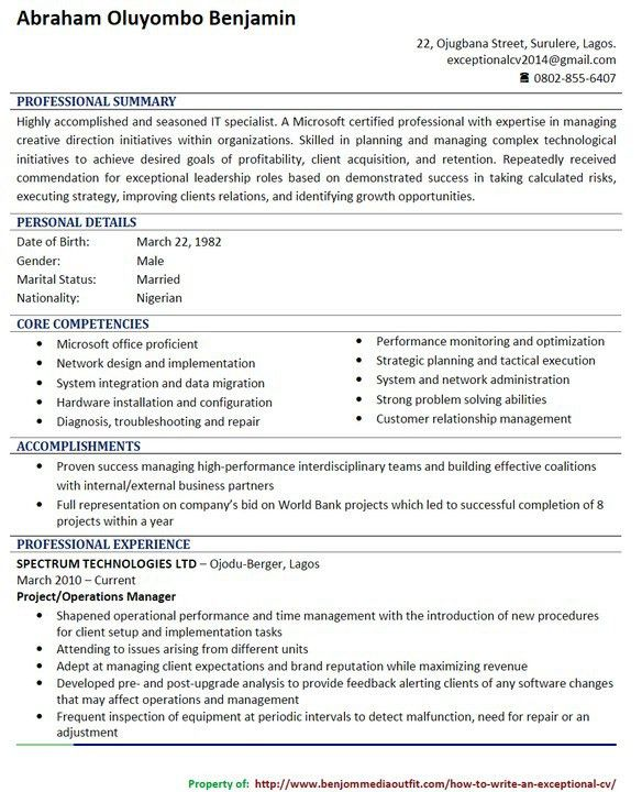 How To Quickly Write A Catchy CV (picture) - Jobs/Vacancies - Nigeria