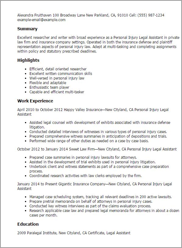 Resume Templates Personal Injury Legal Assistant summary ...