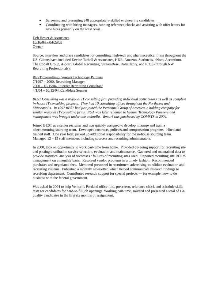 Chronological Recruiting Manager Resume Template | page 2