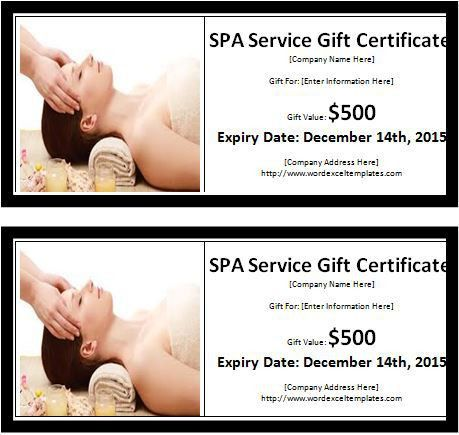 MS Word SPA Services Gift Certificate Template | Word & Excel ...