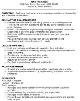 retail sales manager resume example. retail store associate sample ...