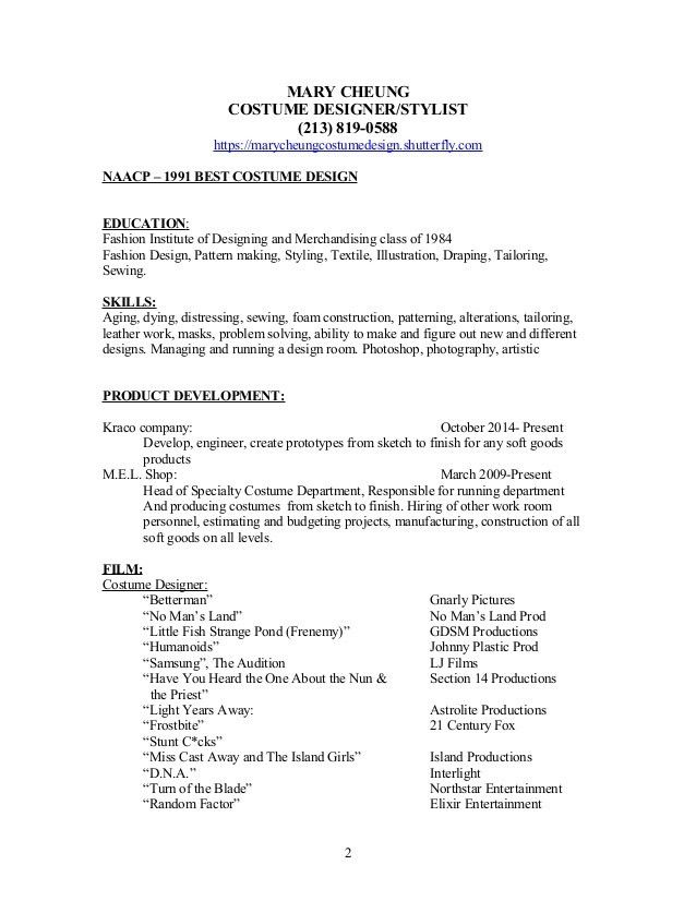 Mary Cheung Designer Resume W References And Cover Letter Costume Designer  Resume