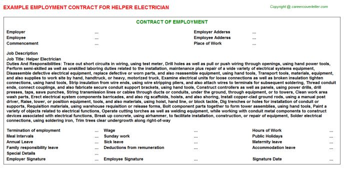Helper Electrician Employment Contract