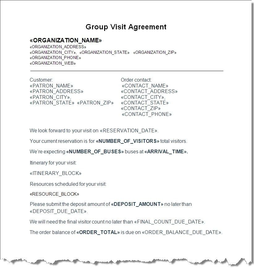Group Sales Contract with Itinerary and Resources