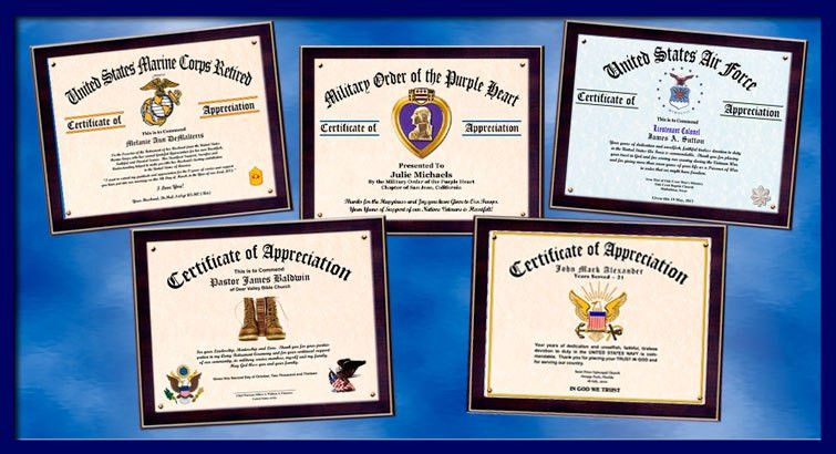 military certificate of appreciation citation example