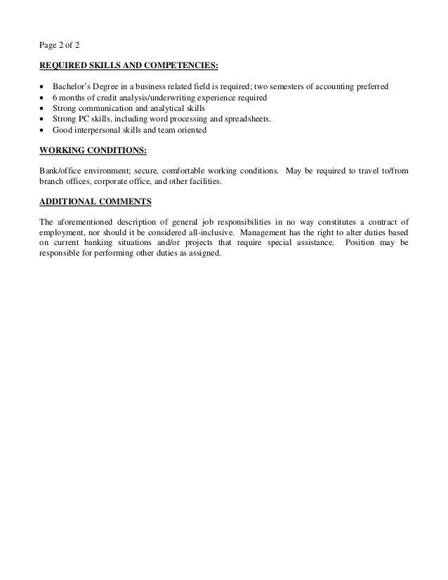 Job Description - Credit Analyst