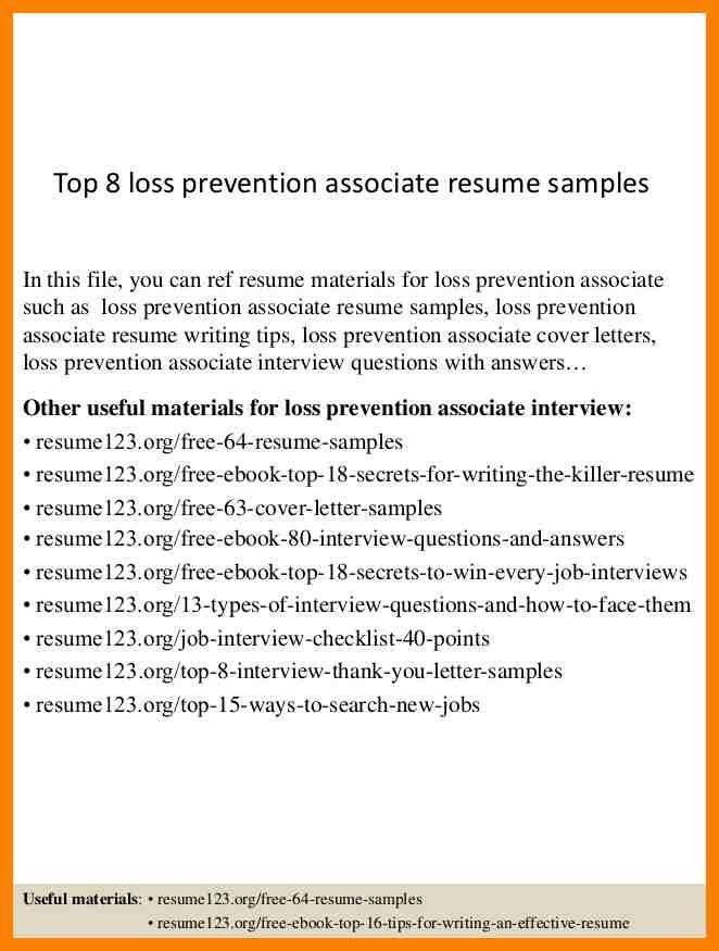 7+ loss prevention resume | addressing letter