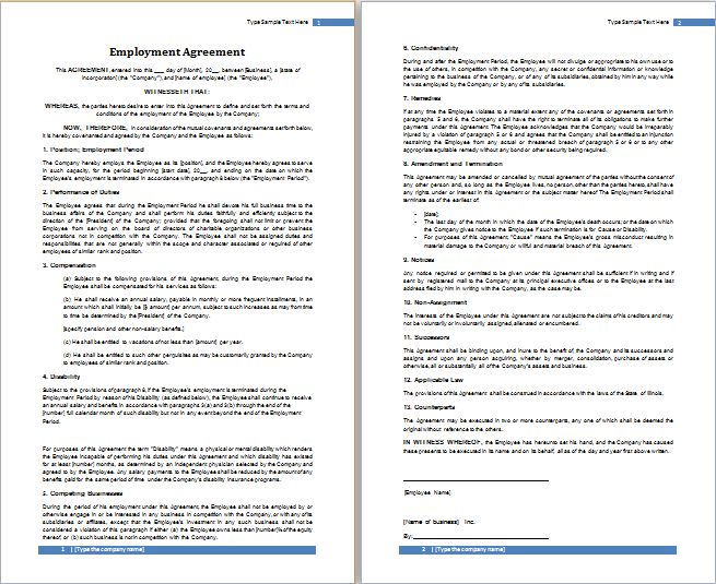 MS Word Employment Agreement Template | Free Agreement Templates