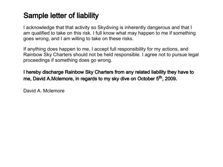 How to write a Letter of Liability