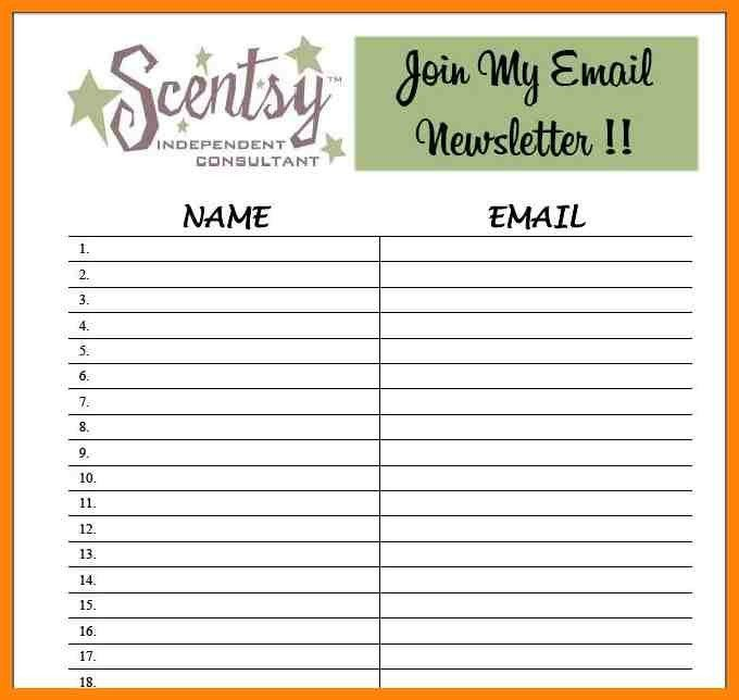 email sign up sheet template word
