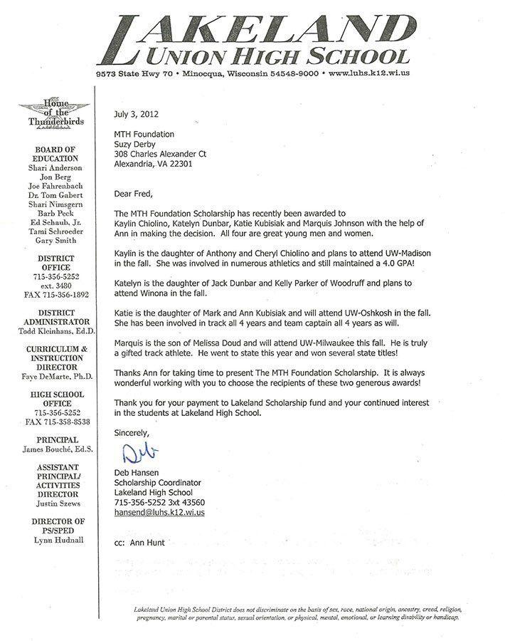 2012 Scholarship Letter From Lakeland Union High School