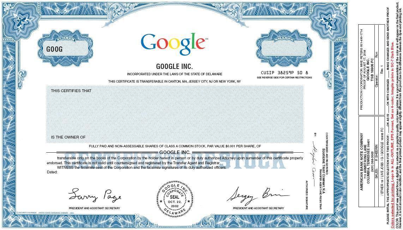 Specimen Class A common stock certificate