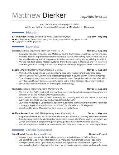 Real Software Engineering Internship Resume Template | career ...
