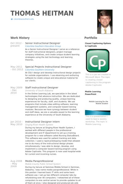 Instructional Designer Resume samples - VisualCV resume samples ...