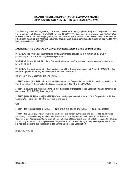 Board Resolution Approving Amendment to General By-Laws - Template ...